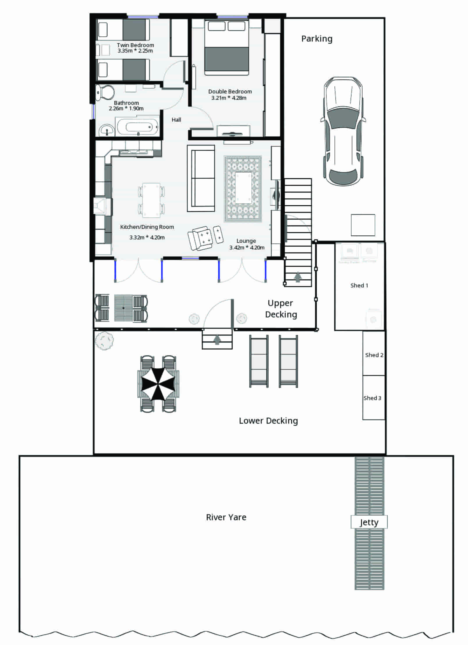 Floor Plan of Swallowdale Holiday Home in Brundall